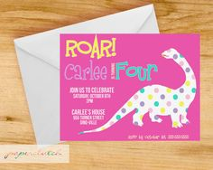 Girly Dinosaur Birthday Party Invitation  by PaperclutchShop