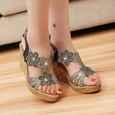 630bc8bfa17 Crystal Shiny Beaded Peep Toe Buckle Wedge Heel Platform Sandals  Comfortable Sandals