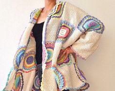 This bright and colorful wool cardigan is a comfortable choice for all seasons. The cardigan fits sizes M-XXXXL. Its in) long and measures in) around the hips when laid flat. Please keep in mind it will take up to 2 weeks to make one. Diy Crochet Cardigan, Crochet Baby Hats, Crochet Clothes, Cardigan Sweaters For Women, Cardigans For Women, Cardigan Oversize, Pull Beige, Christening Gowns Girls, Crochet Circles