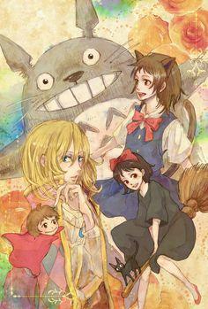 Ghibli movies characters. Totoro, Haru, Howl, Ponyo, Kiki & Jiji :3