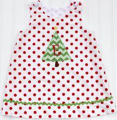 Polka Dot Christmas Tree Monogrammed Dress by EllieHandmades, $36.00