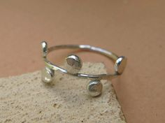 Sterling silver ring dots ring simple jewelry by DvoraSchleffer, $25.00