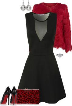 Elegant Evening Outfit - This elegant black and red evening outfit is perfect for an upcoming charity gala or New Year's Eve party. Look stunning in this elegant evening outfit! @RLEveryday www.redlettereveryday.com #eveningoutfit
