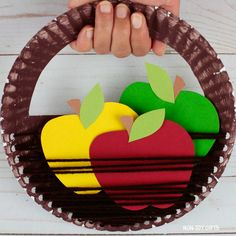Apple Basket Craft For Kids - Fall Craft With Template Apple Basket Craft For Kids - Fall Craft With Spring Crafts For Kids, Paper Crafts For Kids, Diy Arts And Crafts, Art For Kids, Paper Towel Roll Crafts, Paper Plate Crafts, Toddler Crafts, Preschool Crafts, Vegetable Crafts