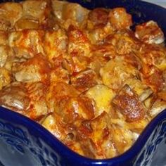 Cheesy Ranch Potatoes - Dice 2-3 lbs. red potatoes into small chunks. Spread in a baking dish, sprinkle with chili powder, seasoning salt, & pepper. Put several dollops of butter on top. Cover with foil and bake at 400 degrees for 1 hour. Remove from oven & sprinkle with a couple handfuls of shredded cheese of your choice. Then drizzle on Ranch dressing to taste. Stir well & put back in the oven, uncovered, for 5 minutes. For variety, you can add bacon bits & sliced green onions too.