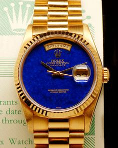 ♛ Rolex President DayDate 18k Gold - Lapis dial ♛