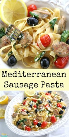 This Mediterranean Sausage Pasta is made with natural Spinach & Feta chicken sausage from our sponsor al fresco Chicken Greek Sausage Recipe, Chicken Sausage Recipes, Mediterranean Pasta, Mediterranean Recipes, Spinach Feta Chicken, Macro Meals, Easy Family Meals, Easy Meals, Recipes