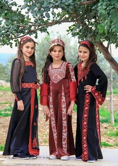 """Embroidery Folk Girls in modern variants of Palestinian folk costumes. The dresses are decorated with the traditional embroidery of Palestine called """"tatriz"""" Folk Clothing, Historical Clothing, Costumes Around The World, Palestinian Embroidery, Arab Girls, Folk Costume, Traditional Dresses, Bridal Dresses, Culture"""