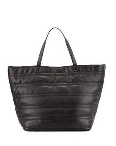 V2X37 Neiman Marcus Quilted Faux-Leather Tote Bag, Black