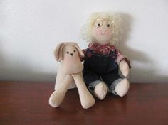 New Boy with Puppy Cloth Doll Free Shipping $19.95
