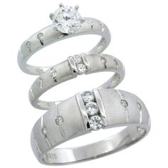 Sterling Silver 3-Piece Trio His (7.5 mm) & Hers (3.5 mm) Channel Set CZ Wedding Ring Band Set
