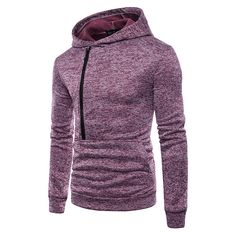 27375a6900 Men Casual Cotton Breathable Big Front Pocket Zipper Solid Color Slim  Hoodies Sweatshirts
