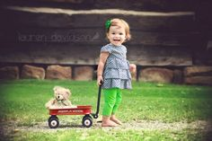 Unique 1 year old photo ideas. 2 year old photo ideas. Toddler girl photos. Vintage summer photos with Radio Flyer wagon. Lauren Davidson photography.  https://www.facebook.com/pages/Lauren-Davidson-Photography/601485646546258