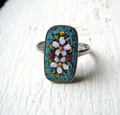 Vintage Italian Silver Micro Mosaic Ring