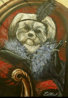 A5 ACRYLIC flapper girl dog- by Emily Willmott
