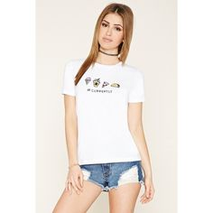 Forever 21 Women's  Currently Food Graphic Tee ($8.90) ❤ liked on Polyvore featuring tops, t-shirts, cotton t shirt, white cotton tee, white short sleeve t shirt, graphic t shirts and short sleeve tee