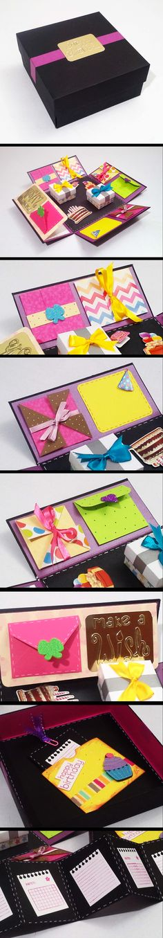 New Birthday Box Diy Ideas Ideas Cute Gifts, Diy Gifts, Handmade Gifts, Diy Paper, Paper Crafts, Exploding Boxes, Diy Birthday, Birthday Gifts, Diy Cards