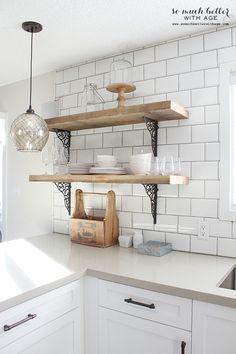 Rustic barn wood kitchen shelves   somuchbetterwithage.com