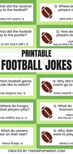 30 Funny Football Jokes for Kids • The Simple Parent Funny Football Jokes, Kid Jokes, Jokes And Riddles, Corny Jokes, Jokes For Kids, Good Parenting, Really Funny Memes, Cream Recipes, Funny Kids