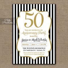 50th Anniversary Invitations  Printable Black & by NiftyPrintables, $15.00