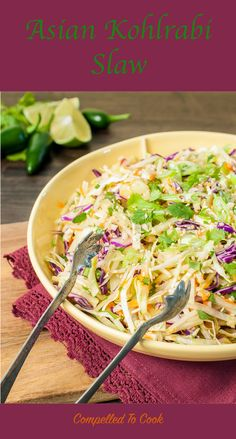 Crunchy cabbage and kohlrabi with a hint of sesame and spiced up with jalapeño for a refreshing Asian inspired slaw.