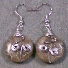 Fossil Coral & Sterling Silver Earrings