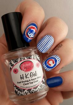 Chicago Cubs Nail Art | Be Happy And Buy Polish