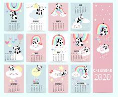 Animal calendar 2020 with panda, bear, rainbow for children. Cute Calendar, Kids Calendar, Calendar 2020, Calendar Notebook, Grid Notebook, School Calendar, Budget Planner, Happy Planner, Diy Kalender