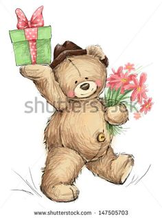 Teddy bear with present and flowers - stock photo