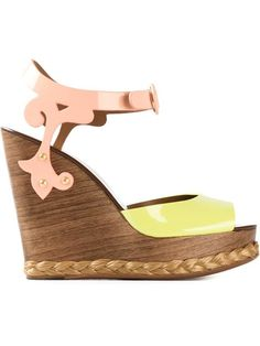 Love these shoes by DOLCE & GABBANA Brocade Wedge Sandals - $1045