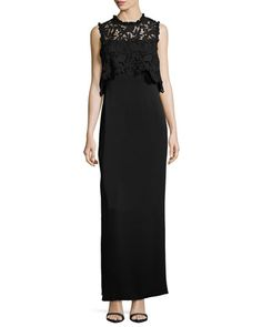 Minerva+Sleeveless+Lace+Popover+Column+Gown,+Black+by+Shoshanna+at+Neiman+Marcus.