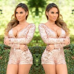 ✨Sexy Sequin Blush Romper✨BUY TODAY FOR NYE!! SO GORGEOUS!!! ❤️❤️❤                                                                                             Long Sleeve Romper in Blush  Sequins Deep V Neckline Open Back 100% Polyester Other