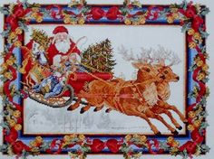 Amazon.com: Santas Journey Janlynn Counted Cross Stitch Kit Santa Reindeer Sleigh.  Let's be ready for next season!
