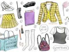 I made this Clueless costume illustration for a few years ago and it's still one of my most popular drawings. Also available as postcards and prints on Etsy. (link, bio, whatever) . Cher Clueless Outfit, Clueless Fashion, Clueless Style, 90s Fashion, Cher From Clueless, Clueless 1995, 90s Style, Hijab Fashion, Fashion Art
