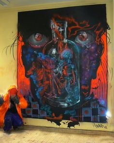 NEW WALLPainting! 'THE VISION NEVER DIES' INNERSELFIE, MixedMedia on Wall in GENTCITY!