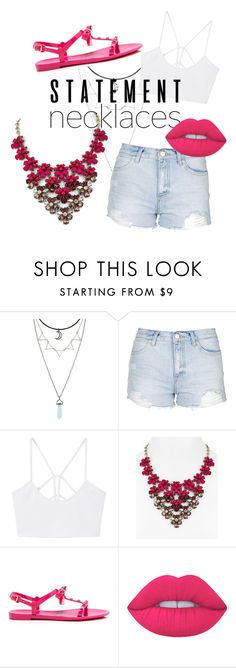 Pink kiss by aneta-sundova on Polyvore featuring MANGO, Topshop, Kate Spade, BaubleBar, Lime Crime and statementnecklaces