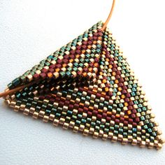 Autumnal Triangle Peyote Pendant on Copper Cable Choker (2426) by SandFibers on Etsy https://www.etsy.com/listing/31384810/autumnal-triangle-peyote-pendant-on