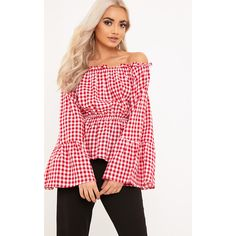 Nellie Red Gingham Check Bardot Top (€11) found on Polyvore featuring women's fashion, tops, red, red gingham top, red top and gingham top