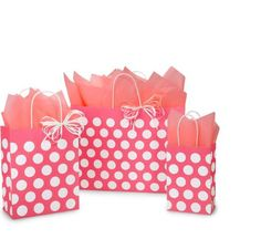 Nashville Wraps Coral Rose Polka Dots Paper Shopping Bag Assortment is made from recycled white kraft paper. Green Way® Eco-Friendly Packaging. Polka Dot Paper, Polka Dots, Kraft Paper, Go Green, Gift Bags, Paper Shopping Bag, Recycling, Coral, Gift Wrapping