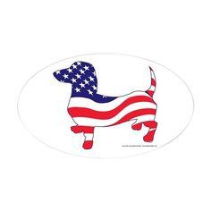Patriotic Wiener Dachshund Decal on CafePress.com