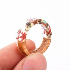 Kain Lee Handmade New Wood Flowers Plants Inside Ring - Kain Lee Resin Ring, Resin Jewelry, Jewelry Rings, Fine Jewelry, Diy Resin Crafts, Wood Flowers, Jewellery Boxes, Square Earrings, Polymer Clay Art