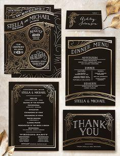 3882 best art deco wedding invitation images on pinterest art deco