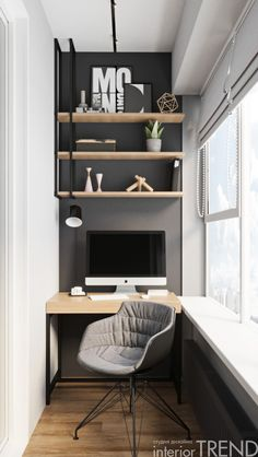 Home Office Design, Home Office Decor, House Design, Home Decor, Small Balcony Decor, Balcony Design, Apartment Balcony Decorating, Apartment Interior, Home Office Inspiration
