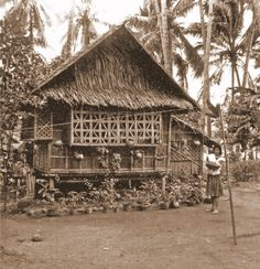 Nipa & Bamboo House. Common Filipino Traditional Houses.