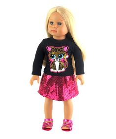 Look at this #zulilyfind! Glitter Leopard Top & Skirt for 18'' Doll #zulilyfinds