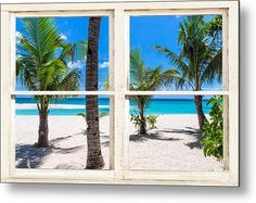 #Tropical Island Rustic #Window View Metal #Art Print by James BO Insogna. #insognaGallery  All metal prints are professionally printed, packaged, and shipped within 3 - 4 business days and delivered ready-to-hang on your wall. Choose from multiple sizes and mounting options.