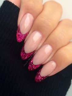 Sarah Richardson created these fabulous nails using CND L&P Sculptured with Darkest Pink Holographic #glitter & a smidge of Silver Holographic acrylic mix #nails #nailart #pink