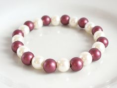 Red & White Acrylic Pearl Elasticated Bracelet by Purple Wyvern Jewels
