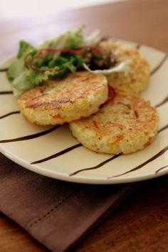 Galettes de riz aux légumes pour 4 petites galettes  http://uneaffairedegout.canalblog.com/archives/2011/11/24/22793523.html