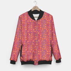 Candy Field, abstract floral, pink &orange Baseball Jacket, Live Heroes